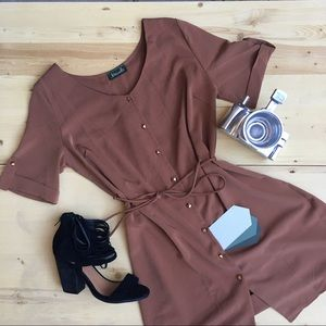 Brown Shirt Dress NWOT